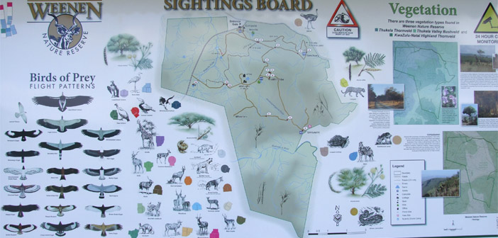Weenen Game Reserve, Sightings Board